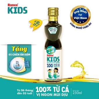 Dầu ăn dinh dưỡng cho bé 100% từ cá Ranee Kids 250 ml + Tặng 1 chén ăn dặm hình cá (bằng melamine cao cấp)